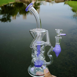 Discount pink water glasses - 10 Inch Unique Double Recycler Glass Bong Pink Purple Heady Glass Turbine Perc Percolator Water Pipes Fab Egg Fab Dab Ri