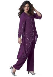 2019 Artı Boyutu 3 Parça Anne Gelin Pantolon Takım Elbise Payetler Uzun Kollu Şifon Anne Ceket ile Örgün Elbise indirimde