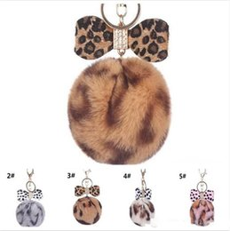 $enCountryForm.capitalKeyWord Australia - 60pcs 8CM Leopard Print Pompom Keychain Fluffy Faux Rabbit Fur Ball Women Handbag Pendants Car Key Ring Crystal Bow Key Chains Jewelry