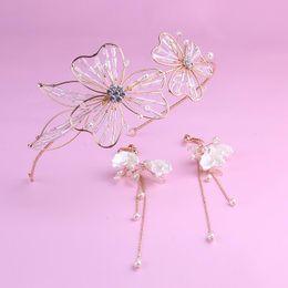 Antique rhinestone eArrings online shopping - Bridal wedding ornaments Gardenia crystal headband wedding dress headwear Korean wedding headring earrings suit