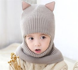 Baby Beanies Patterns Australia - Unisex Children Fox Crochet Knitted Caps And Scarf Winter Warm Earflap Suit Set Baby Toddler Warm Kids Cute Pattern Beanies Hat Set