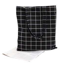 Wholesale Cotton Makeup Bags Linen Fashion Plaid Shoulder Tote Handbag Eco Shopping Large Capacity Canvas Purse Pouch for Girls Student Popular Cases