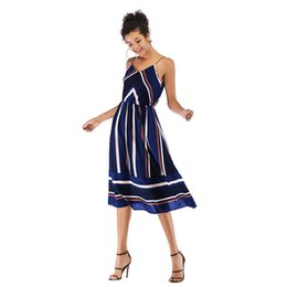 7258a829e8 in stock Women Midi Dresses Striped Chiffon Spaghetti Strap mid-length Slip  Dress Sundress skirt Casual Fashion Dresses 4 colors