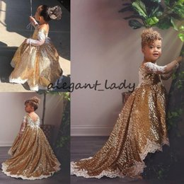 Infant Lowers Australia - Sparkly Gold High Low Flower Girls Dresses with Long Sleeves 2019 Low Back Sequins Lace Applique Princess Toddler Infant Wedding Party Gown