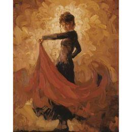 Flamenco Paintings Australia - Modern art paintings dancing girl Golden FLAMENCO hand-painted home decor