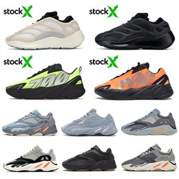 solid blue running shoes NZ - stock x Carbon blue 700 wave runner Magnet Reflective Alvah Azael Inertia static solid grey Kanye West mens women running shoes sneakers