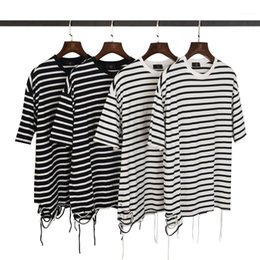 oversized striped tee NZ - Neck Male Tees Casual Homme Top Mens Oversized Striped Printed Tshirt Loose Irregular Hem Short Sleeve Round