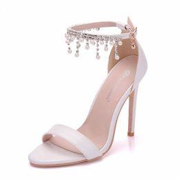 Shoes Women High Heel White Australia - Women Elegant Heels Wedding Shoes For Women High Heel Sandals Pearls Tassel Chain Platform White Party Shoes