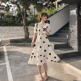 Wholesale boho style dresses for women for sale – plus size MISHOW Women Summer Beach Chiffon Dress Dot New Korean Boho Dresses For Girls Slim High Waist Female Vestidos MX19B1384 T200623