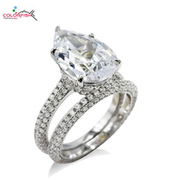 Pear Shape Rings Australia - COLORFISH 2 Pcs 925 Sterling Silver Women's Ring Set Luxury Wedding Jewelry Eternity Pear Shape Solitaire Engagement Ring Set