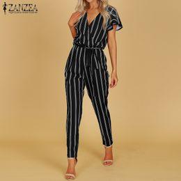 Office Jumpsuits Australia - Zanzea 2019 Elegant Rompers Women Jumpsuit Female Striped Pants Office Ladies Bodysuits V Neck Belted Summer Trouser Plus Size T4190612