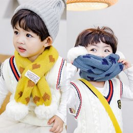 korean boys scarfs Canada - Autumn and Winter new Warm children's scarf boys and girls love baby Korean cute hipster rabbit fur ball warm scarf