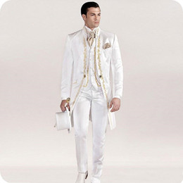 italian wedding vest NZ - White Italian Tailcoat Mens Wedding Suits Embroidery Vintage Slim Fit Groom Wear Tuxedos Costume Homme Jacket Pants Vest 20