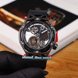 Versión de alta TECHFRAME MP F1 408.QU.0123.RX Esqueleto Dial Caja de acero PVD mecánico automático Tourbillon del reloj para hombre de la correa de goma Relojes en venta
