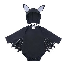 romper infant Australia - 2PCS New Infant Baby Boy Batman Long Sleeve Cotton Black Romper Jumpsuit Playsuit Halloween Clothes Autumn Cute Romper+Hat