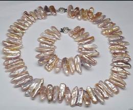 $enCountryForm.capitalKeyWord Australia - jewelry Classic fashion Purple Biwa Pearl Necklace & Bracelet jewelry Set