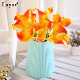 Fake Lilies Flowers NZ - Decorations Artificial Dried Flowers 10pcs Real Touch Lily Calla PU Artificial Flower Bride Bouquet Wedding Decor Simulation Fake Flowers...