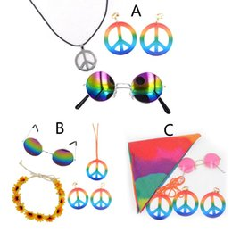 StainleSS Steel SignS online shopping - Halloween s s Hippie Costume Jewelry Set Rainbow Peace Sign Necklace Earring
