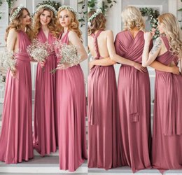 35a4233f94f Dusky Pink Convertible A Line Chiffon Bridesmaids Dresses For Summer Boho  Beach Weddings Cheap Maid of Honor Gowns Custom Made