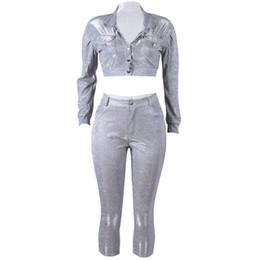 $enCountryForm.capitalKeyWord Australia - Women Suits Casual Elegant Punk Hip Hop Ladies Silver Coats Pencil Pants Lapel Solid Sequins High Street Female 2 Pieces Sets