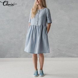cec4423120 bohemian style linen women dresses 2019 - 2019 Celmia Vintage Linen Shirt  Dress Women Short Sleeve