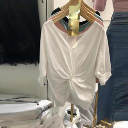 $enCountryForm.capitalKeyWord Australia - SuperAen Korean Style Women T Shirt 2019 Summer New Fashion Cotton Ladies T-shirt V-neck Irregular Women Tops