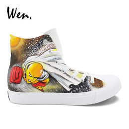 20f44217208e Painted Shoes Designs UK - Wen Boys Girls Hand Painted Cosplay Shoes ONE  PUNCH MAN Anime