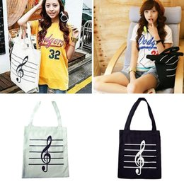 $enCountryForm.capitalKeyWord Australia - Musical note Printed Women's Casual Tote Female Daily Use Female Shopping Bag Ladies Single Shoulder Handbag Simple Beach Bag