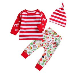 christmas clothes Australia - Christmas girl kids clothes Set Long-sleeved printed T-shirt tops+Cartoon pattern Trousers+stripe hat 3 pieces sets KJY813
