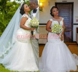 $enCountryForm.capitalKeyWord Australia - Charming Plus Size Mermaid Wedding Dresses Beads Sequins Sheer Nigerian Tulle African Country Arabic Bridal Gown Train Bride Dress Custom