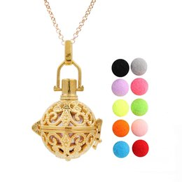 hollow flower pendant NZ - Gold Color Hollow Flower Essential Oil Diffuser Locket Angel Bola Mexico Chime Ball Pendant Floating Charms Necklace for Women Gift