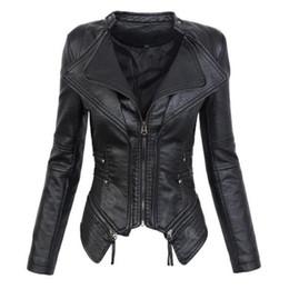 a1f022bb Faux Leather PU Motocicleta Biker Jacket Womens Gothic PU Leather Zipper de  manga larga Chaquetas de las mujeres delgadas Abrigos Prendas de abrigo  Negro