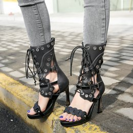 $enCountryForm.capitalKeyWord Canada - 2019 summer new high heel shoes women sandals rivet metal ring decor front lace up boots sandals open toe cow leather sandals black