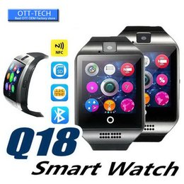 top fitness watch UK - Q18 Smart Watch Bluetooth Smart watches for Android Cellphones Support SIM Card Camera Answer Call and Set up Various Language with Box Top
