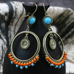 3270e20cb Beautiful Round Beads Fashion Anniversary Party Jewelry Drop Earring  Circular wooden bead Dangle Round 1Pair Bohemia Hot Sale
