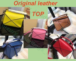Style leather evening online shopping - Top sale new style fashion genuine leather puzzle bag Girls shoulder bag geometric handbag evening bag with box