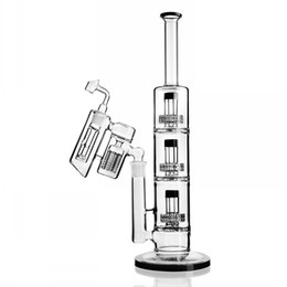 beaker ash catcher UK - Stereo Matrix perc 18mm Ash Catcher Dab Rigs Beaker Bong Water Pipe Glass Bubbler Water Bongs Oil Rig shisha hookahs Free Shipping