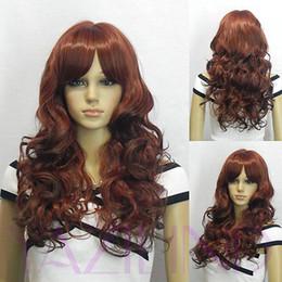 $enCountryForm.capitalKeyWord Australia - Women ladies Cosplay Cosplay Harajuku Anime Medium Long Cute Wavy Red Wine Brown Full Bangs Fibre Hair Anime Wig
