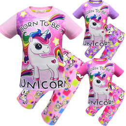 Cute Cartoon Underwear Australia - Summer Unicorn Girls Pajamas Sets cute Cartoon Girls Sleepwear Kids Underwear Childrens Sleepwear kids designer clothes kids clothing A3005