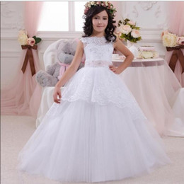 White Tutus For Sale Australia - 2019 New Hot sale Ball Gown Girl holy communion dresses custom made white flower girl dresses for wedding lace beaded pageant gown