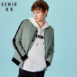 Wholesale SEMIR Men Side Striped Sleeved Down Jacket with Baseball Collar Men s Outdoor Jacket with Full Zip Side Pocket for Winter