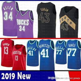 79212539f49f Toronto Jersey Raptors Pascal 43 Siakam James 13 Harden Rockets Bucks Ray  34 Allen Dallas Luka 77 Doncic Dirk 41 Nowitzki Mavericks Purple