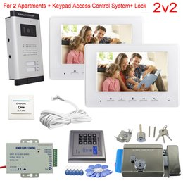 "Keypad Entry Locks UK - Access Control Keypad 2 Apartments Video Door Entry Panel Color 7"" Indoor Monitor Video Intercom With Electronic Door Lock Kit"
