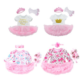 Cake Crowns online shopping - Girls Three piece Suit Princess Dress Short Sleeve Crown Letter Bow Headband Cartoon Dots Printed Cake Flower