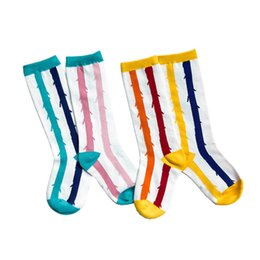 Cotton Children Socks Boy UK - New Summer Athletic Children Socks colorful stripe Kids Socks Casual student Knit Knee High Socks cotton Baby Boys Sock girls sock A5138