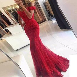 Floor red carpet online shopping - Lace Appliques Mermaid Off Shoulder Evening Dresses Long Evening Prom Gowns Beaded Formal Party Dress Green Red Burgundy