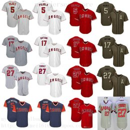 Discount red star jersey - 2019 Men Women Youth Angels Jersey 5 Pujols 17 Ohtani 27 Trout White Gray Red Green Salute to Service Players Weekend Al