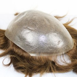 Human Hair Toupee For Men Australia - Toupee for Men 100% Remy Human Hair 0.06mm to 0.08 mm Ultra Thin Skin Hair System V-looped Hair Various Color & Size