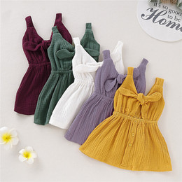 Blank tie online shopping - INS Summer Designer INS Stylish Little Girls Cotton Blank Dresses A line Sleeveless Front Wood Button Back Bow Tie Girls Dresses T