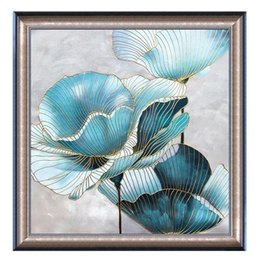 $enCountryForm.capitalKeyWord Australia - Handpainted Canvas Painting Framed Abstract Chinese Lotus Flower Picture Wall Art For Living Room Bedroom Wall Decor